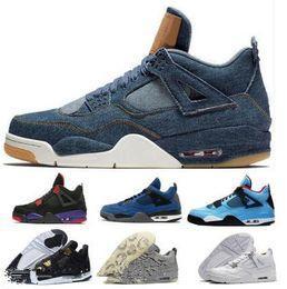 buy online 9b70d 08807 Basketball Schuhe 4 IV Herren Damen Blau Zement Kaws 4 Chaussures 4s  Gezüchtet Denim Kaktus Jack Alternative Eminem Raptor Travis Sportlich Sne  kaws im ...