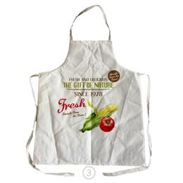 Padrões de avental on-line-NOVO Design Bom Dia Estilo Padrão de Comida Das Mulheres Dos Homens de Linho de Algodão Cozinha Cozinha Avental Para Casais Aventais De Limpeza