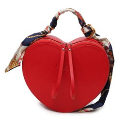 Wholesale Heart Shaped Red Handbag - 2017 New Fashion Totes Heart Shaped Luxury Handbags Women Bags Design PU Leather Crossbody Bag Scarf Handle Shoulder Bag
