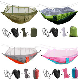 Wholesale Wholesale Netting - 12 colors Outdoor Hammock With Mosquito Nets Travel Picnic Camping Hanging Bed Aerial Tents Portable Hammocks EEA296 12PCS