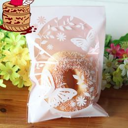 Décorations de boulangerie en Ligne-50 pcs 13x19 cm Rose Papillon Boulangerie Cookie Bonbons Doux Biscuit Cadeau Savon Faveur Cello OPP Sac En Plastique De Mariage Décorations