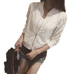 koreanisches baseballhemd Rabatt Koreanische Mode Frauen Bomberjacke Langarm Spitze Sonnencreme Hemd Sommer Dünne Kurzmantel Beiläufige Baseballjacke Weibliche Outwear