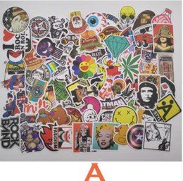 Wholesale Toys Guitars - 7 Combinations 100pcs pack DIY Waterproof Funny Laptop Car Stickers For Trunk Skateboard Guitar Fridge Decal Toy Stickers