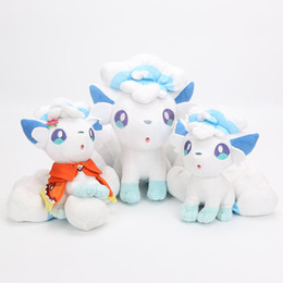 Wholesale white fox tail - 19~24 CM Ice six-tailed plush doll pet elf in the Arora area pocket monster Cute Fox Plush Toys For Children