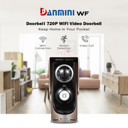 Wholesale Intercom Video Camera - DANMINI Wireless Door bell 720P HD WiFi Video Doorbell Intercom Digital Zoom Night Vision Intercom With Camera For Android IOS