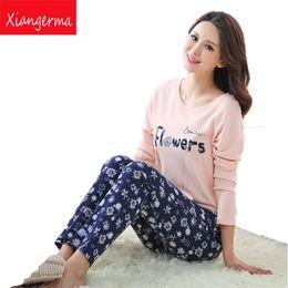 Wholesale Sexy Winter Nightgowns - Xiangerma Winter Women Pajama Small Flowers Sets Autumn Sleepwear Pajamas Girls Night Homewear For Women Nightgown