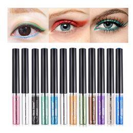 Eye-liner orange en Ligne-Date 1 pc Musique Fleur 12 couleur Liquide Eyeliner Facile à Porter Longue durée Étanche Maquillage Eyeliner