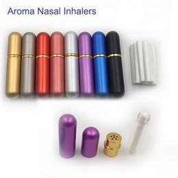 Botellas de aceite esencial envío gratis online-Nuevo inhalador nasal de aluminio botellas rellenables para aceites esenciales de aromaterapia con mechas de algodón de alta calidad envío gratis