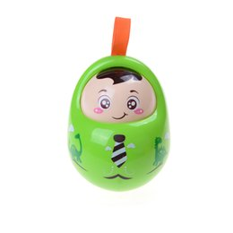 Wholesale Musical Baby Doll - Wholesale- Mini Cartoon Tumbler Doll Roly-poly Mobile Musical Rattles Toys For baby toys for babies Girl baby Toy Matlyoshka Tumbler doll