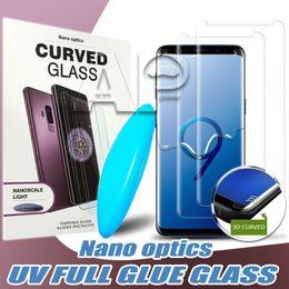 Iphone luz de apple online-Pegamento líquido Caso amistoso vidrio templado para el Iphone 11 Pro XS MAX S10 Samsung Galaxy Nota 10 9 Plus con luz UV protector