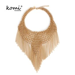 Wholesale mi necklace - whole saleKOMi Elegant Big Tassel Choker Women Gold Color Hyperbole Alloy Maxi Necklace Ethnic Statement Necklaces Fashion Jewelry MI-072