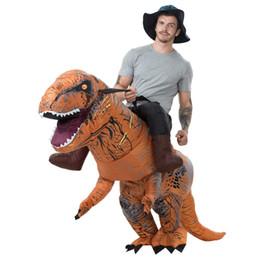 Hinchables de dinosaurios online-Traje de montar calientes T-Rex inflable adulto dinosaurio traje de Carnaval Fiesta de Halloween Fantasía de Navidad trajes Traje