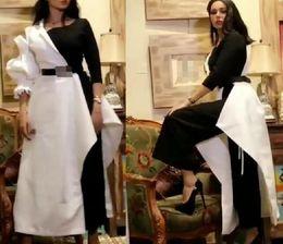 Асимметричный комбинезон онлайн-2018 черно-белые вечерние платья с комбинезонами с длинными рукавами асимметричный дизайн резки