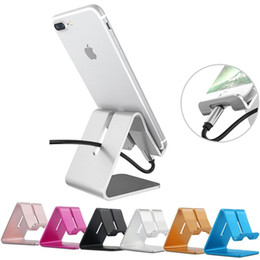 Wholesale tablet retail stand - Universal Aluminum Metal Mobile Phone Tablet Holder Desk Stand holder for iPhone 7 Plus Samsung S8 Plus ZTE With Retail Package