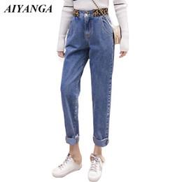 2ae7e6b2b74c Grosso Jeans Velo Mulheres 2018 Calça Jeans De Cintura Alta Harem Pants  Moda Leopardo impressão Calças de Inverno Casuais Para As Mulheres Calças  Quentes ...