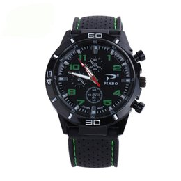 Wholesale Waterproof Watch 24 Hours - Men Quartz Watches Relojes Military Aviator Rubber Strap 30m Waterproof Sports Watches 24 Hours Display Wristwatches
