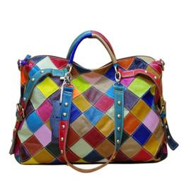 Nuevos bolsos de las mujeres ocasionales coloridos bloques de retazos de las mujeres bolsas de asas de cuero genuino para mujer bolsos desde fabricantes