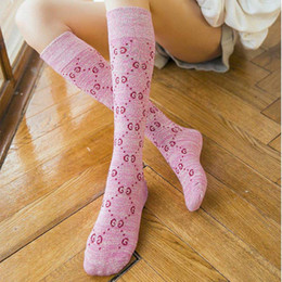 Wholesale beautiful socks - 2018 Beautiful Lady Women Fashion Style Gold Wire Velour Logo Letter G soft comfortable Cotton Knee Socks