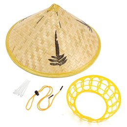 Wholesale Rain Weave - Handmade Leaves Bamboo Woven Hat Tourism Rain Gear Cap Costume Cone Conical Farmer Asian Chinese Country For Performance Show