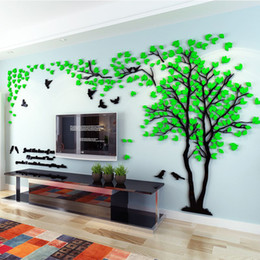 Wholesale tree decals for living room - Wholesale Wall Stickers Acrylic couple tree wall stickers living room bedroom TV wall 3D stickers DIY Home Decor