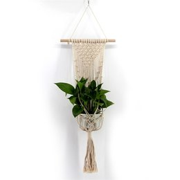 Wholesale Bohemia Glass Wholesale - Plants Hanger Basket Handmade Weave Flowerpot Decorate Suspension Net Wall Hanging Cotton Soft Feel Bohemia Fabric Popular 17 5jj V