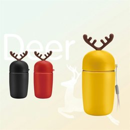 Wholesale Cute Glass Bottles - Cartoon Antlers Water Bottles Portable Fruit Juice Cups Multi Color Cute Cacti Glass Cup 5 3zw C R