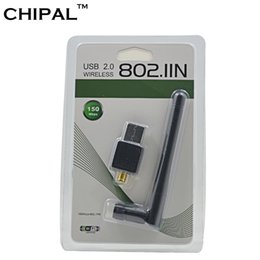 Wholesale desktop windows - CHIPAL 150M External USB WiFi Adapter Antenna Dongle Mini Wireless LAN Network Card 802.11n g b for Windows XP Vista Win7 Win8