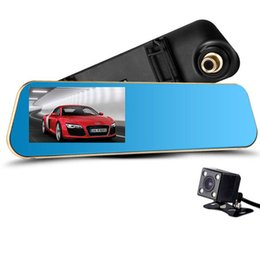 Vídeo azul chinês on-line-Newest Blue Review Mirror with Dual Camera Car DVR Digital Video Recorder Auto Registrator Camcorder Full HD 1080P Dvrs