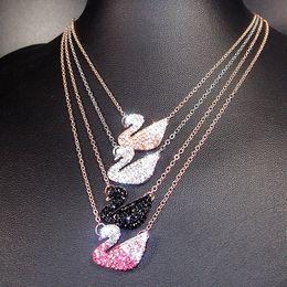 Colar de pingente de ouro preto on-line-Moda de Luxo ganso pingente de cristal colar Alloy clássico charme preto ouro ganso pingentes colares com Strass venda quente