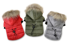 Wholesale Fur For Hood - 5 Size Pet Dog Coat Winter Warm Small Dog Clothes For Chihuahua Soft Fur Hood Puppy Jacket Clothing Dog Outerwear