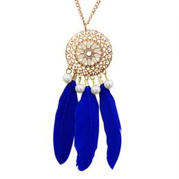 Ювелирные украшения стиля boho онлайн-whole saleHot  Style Jewelry Bohemian Ethnic Dreamcatcher Feather Pendant Necklace Vintage Summer BOHO Necklace For Women Wholesale