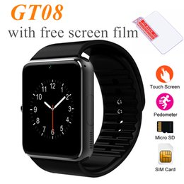 Wholesale Wholesale Watchs - GT08 Bluetooth Smart Watch with SIM and TF Card Slots Watchs for Android Samsung and IOS Apple iphone Smartphone Bracelet with retail box