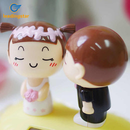 Wholesale Valentine Butterflies - Wholesale- LeadingStar Solar Powered Kissing Bride Groom Toys Novelty Solar Dancing Kiss Doll Valentine Gift Home Car Decoration zk30