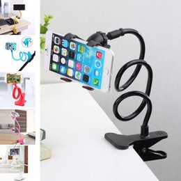 Wholesale rotating arm - 2018 New Universal Long Arm Lazy Mobile Phone Gooseneck Clip Holder Flexible Desk Bed Stand Bracket 360 Rotating For iphone
