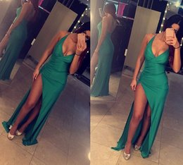 Wholesale Fabric Deco - Split Side Sexy Prom Dresses 2018 Green Formal Evening Dresses Deep V Neck Hollow Back Satin Fabric