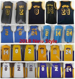 Wholesale Ball Jerseys - 2018 New Style Blue MPLS. 2 Lonzo Ball Jerseys Stitched 0 Kyle Kuzma 11 Brook Lopez 14 Brandon Ingram Jersey College