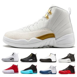 Wholesale free up games - Free shipping 12 men Basketball Shoes sneaker black white the master playoffs taxi Flu Game gym red gamma French Blue 12s sports shoes