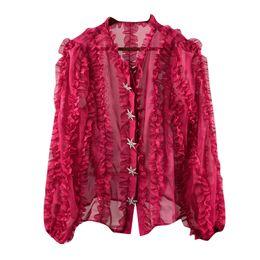 moda 2018 chic mujeres elegantes camisas de manga larga camisas de marca diseñador de ropa de mujer blusas de encaje de manga rosa desde fabricantes