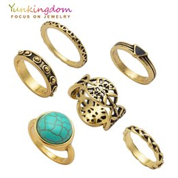 Wholesale cheap ladies rings - Wholesale- Charms Vintage Stones Ring Set Fashion Punk Rings for Women Ladies jewelry Cheap Wholesale   Retail Ring Sets for Fingers
