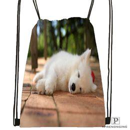2019 lindas mochilas blancas Perrito Custom-Samoyed-White-Animals Mochila con cordón Cute Daypack Perrito Kids (Black Back) 31x40cm # 180611-01-25 lindas mochilas blancas baratos
