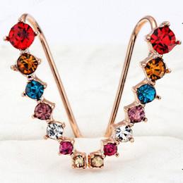 Wholesale Asian Bulk Jewelry - Bulk Lots 0.2*2.4cm Diamond Clip Cuff Earrings 3 Styles Dipper Hook Stud Earrings Jewelry for Women