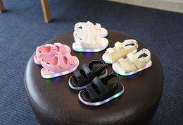 Wholesale baby led light - LED Sandals Summer boys girls sandals Hook & Loop beach shoes Light Baby Shoes 5 p l