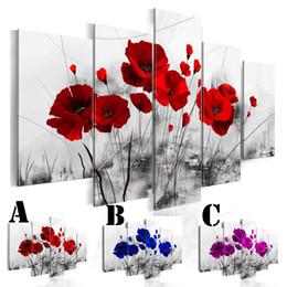 Conjunto de pintura de tres paneles online-Imagen de la pared del arte Impreso Pintura al óleo sobre lienzo Sin enmarcado 5 unids / set Decoración para el hogar Espejo extra Border Three Color Poppies Flor