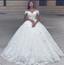 Wholesale Romantic Wedding Dresses Vintage Style - New Style Ball Gown Off the Shoulder Wedding Dress with Flowers High Quality Romantic Lace Princess Bridal Gown Factory Custom Made