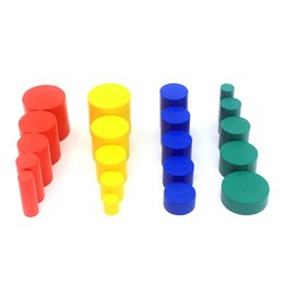 Wholesale cylinder toy - Dental House Montessori Mathematics Educational Wooden Toys Knobles Cylinders Colorful Wood Blocks Small Size Various Size Gift