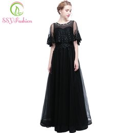 Wholesale Grace Pictures - SSYFashion New Banquet Prom Dress The Grace Bride Simple Black Lace Rhineston Long Evening Party Gown Robe De Soiree Custom