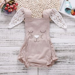 Wholesale bunny collars - Cute Rabbit Embroidery Backless Rompers Euro America Hot Sale Baby Boutique Clothing Infant Toddlers Long Bunny Ear Rompers
