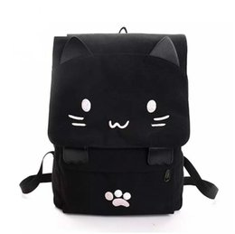51a11518211c Women Cute Cat Backpack Canvas Kawaii Backpack School Bag for Student  Teenagers Lovely Rucksack Cartoon Bookbags Free Shipping