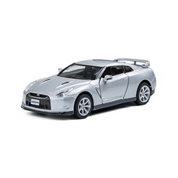 Wholesale Toy Cars Open - Kinsmart GTR R35 Silver 2 open door Sport Car 1 36 alloy Metal Racing Vehicle Diecast Metal Pull Back Car Sport Cars Toy For Gift Collection
