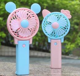juguetes con alimentación usb Rebajas Lindo ventilador de mano plegable de alimentación por USB recargable de mano mini ventilador con gancho para niños regalos juguetes DDA189